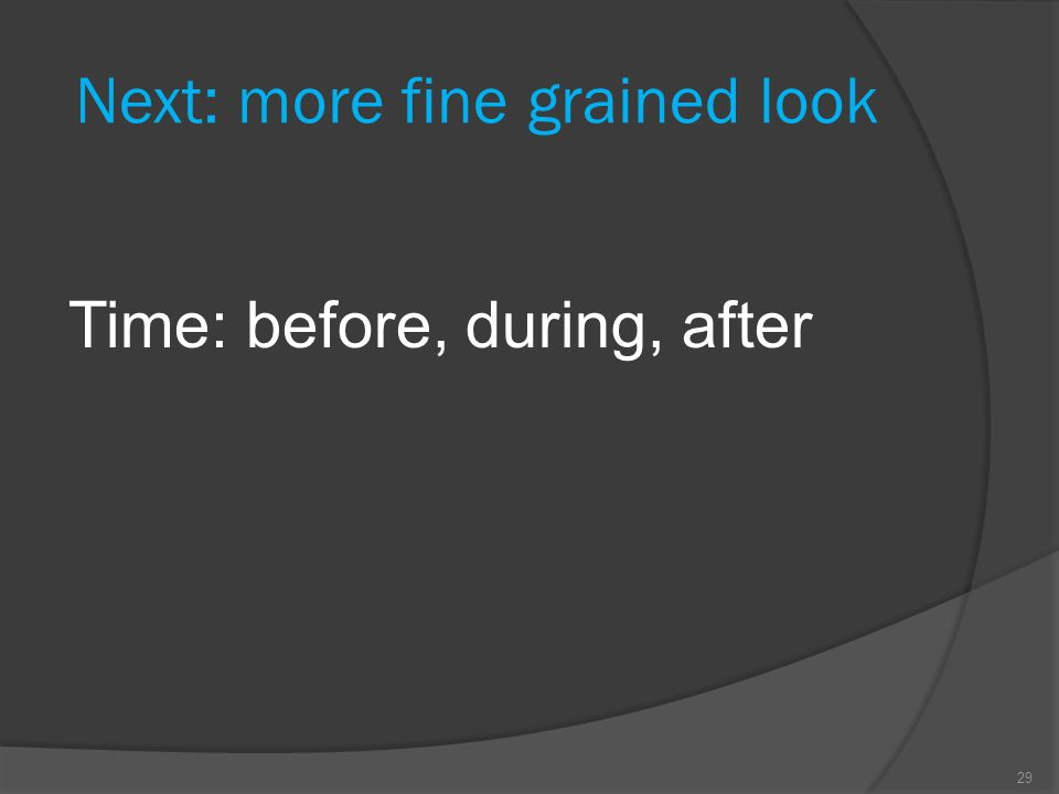 Next: more fine grained look Time: before, during, after 29