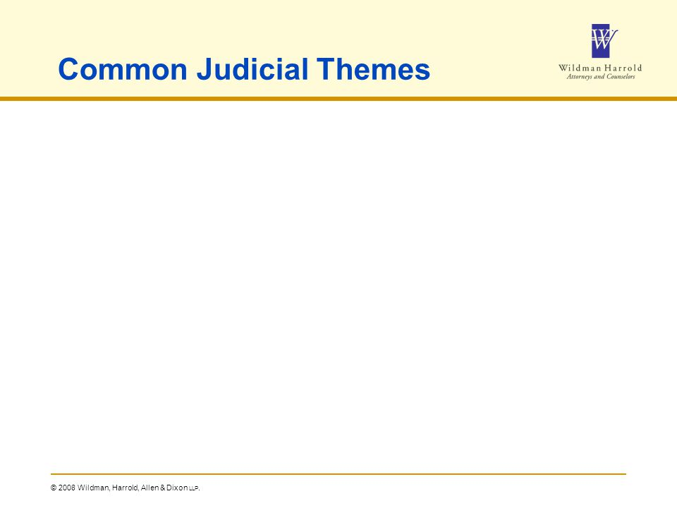 © 2008 Wildman, Harrold, Allen & Dixon LLP. Common Judicial Themes