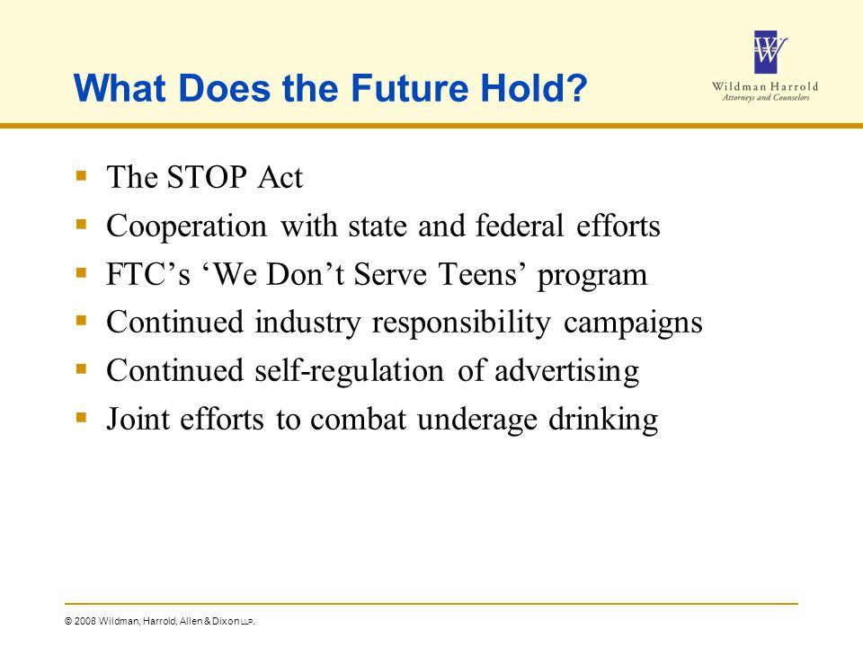© 2008 Wildman, Harrold, Allen & Dixon LLP. What Does the Future Hold.