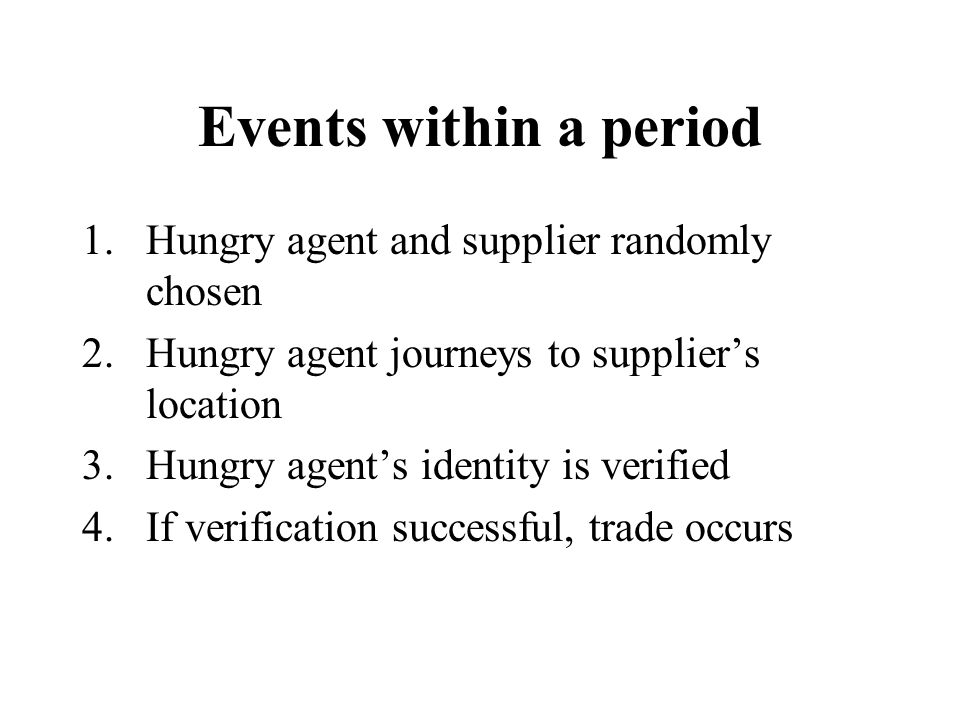 Events within a period 1.Hungry agent and supplier randomly chosen 2.Hungry agent journeys to supplier's location 3.Hungry agent's identity is verifie