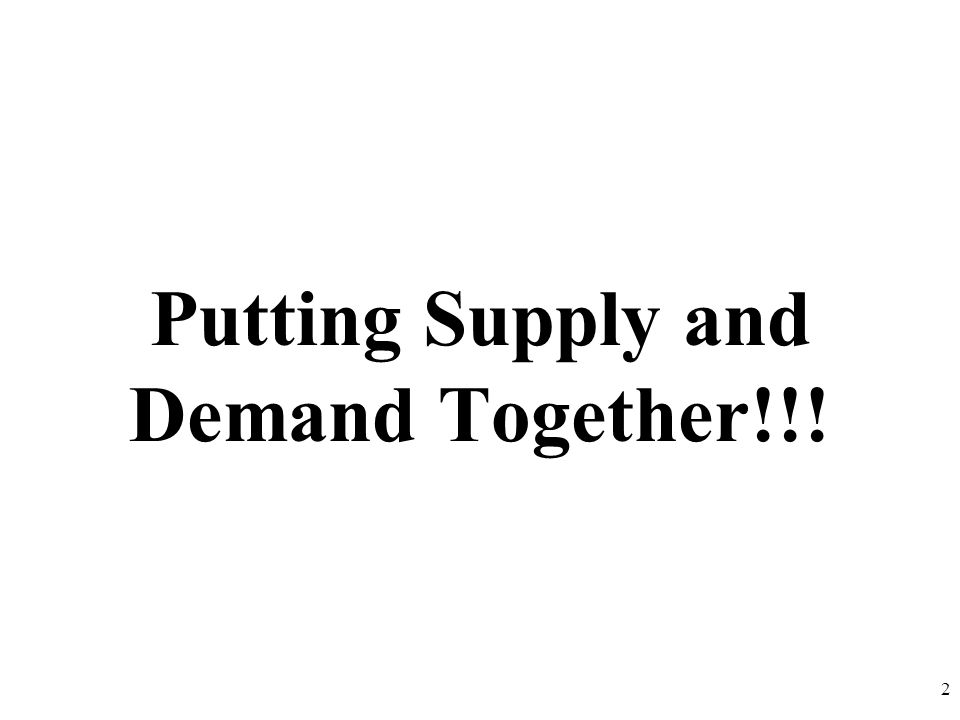 Putting Supply and Demand Together!!! 2