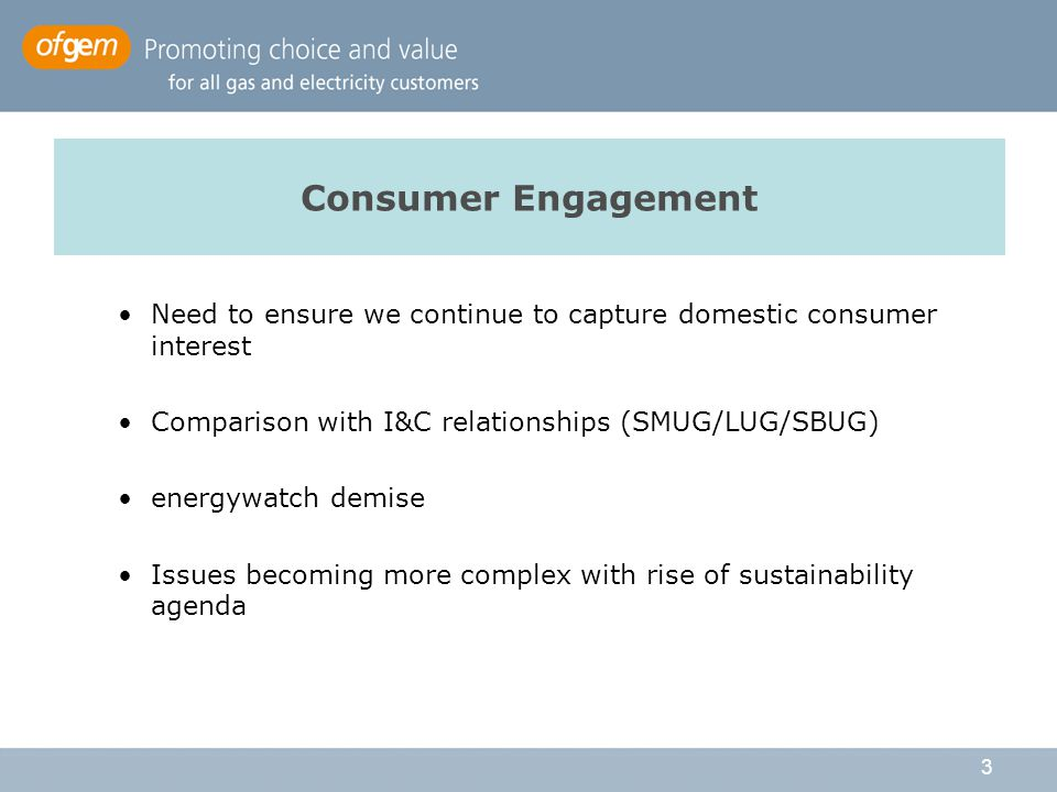 3 Consumer Engagement Need to ensure we continue to capture domestic consumer interest Comparison with I&C relationships (SMUG/LUG/SBUG) energywatch demise Issues becoming more complex with rise of sustainability agenda