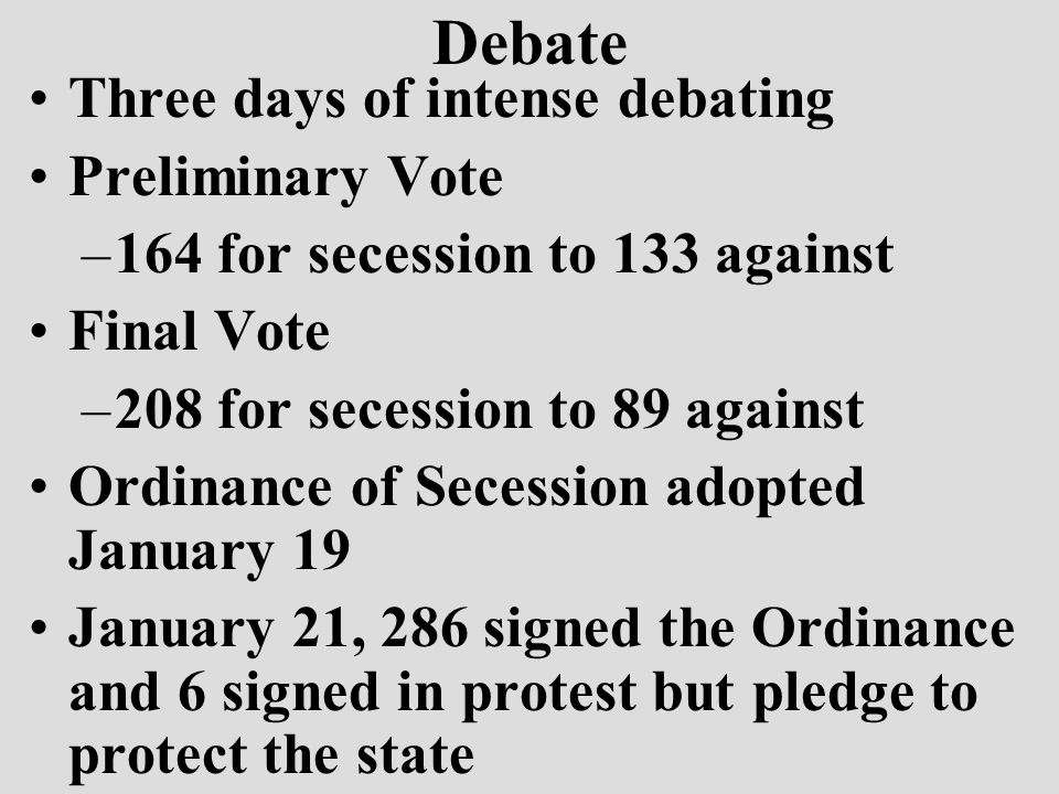 Debate Three days of intense debating Preliminary Vote –164 for secession to 133 against Final Vote –208 for secession to 89 against Ordinance of Secession adopted January 19 January 21, 286 signed the Ordinance and 6 signed in protest but pledge to protect the state