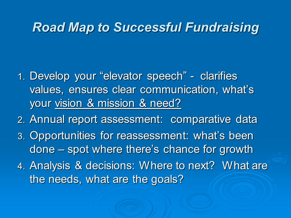Road Map to Successful Fundraising 1.