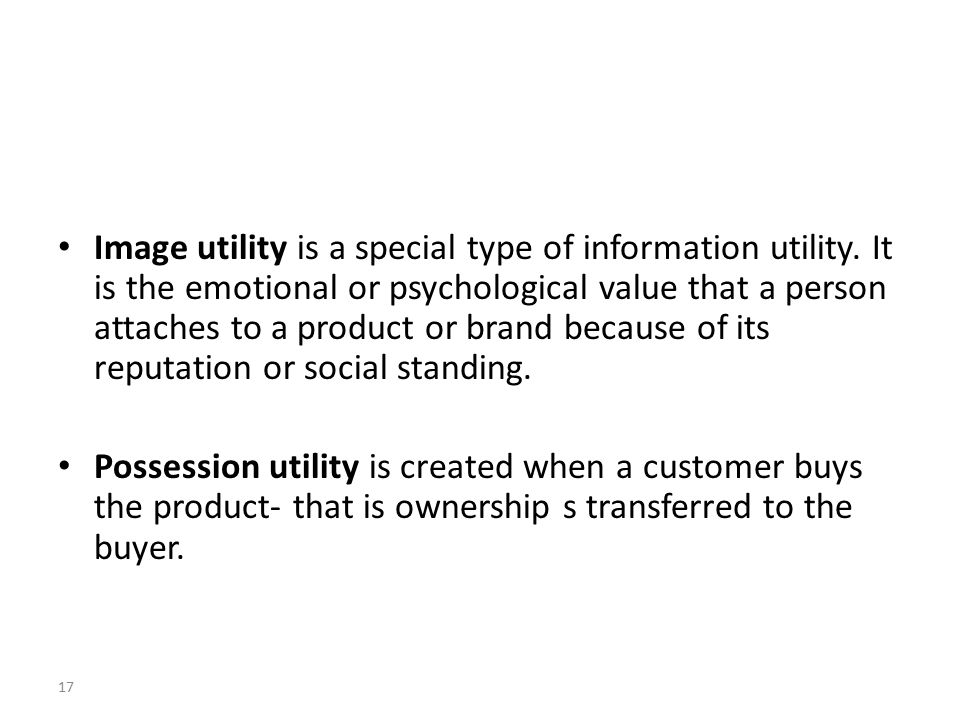 17 Image utility is a special type of information utility.