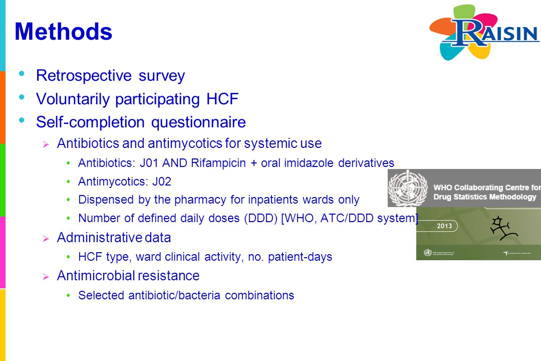 Methods Retrospective survey Voluntarily participating HCF Self-completion questionnaire  Antibiotics and antimycotics for systemic use Antibiotics: