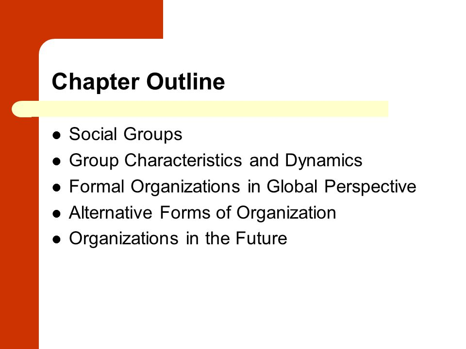 Chapter Outline Social Groups Group Characteristics and Dynamics Formal Organizations in Global Perspective Alternative Forms of Organization Organiza
