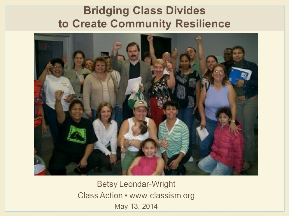 To raise your own class consciousness: 'Like' Class Action on Facebook (https://www.facebook.com/ClassActionNow) Sign up for e-newsletters at www.classism.org To start class conversations in your organization: Host a Class Action workshop (http://www.classism.org/programs/bring-class-action-to-you) Get discussion questions from Talking Across the Class Divide (www.classism.org/store) Help us spread the word about activist class cultures Read Missing Class, then write an Amazon review Ask your library to buy a copy Share the link to www.missingclass.org Next steps