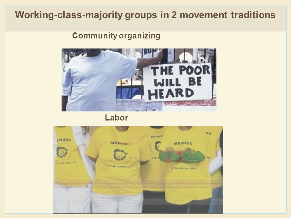 Community organizing Labor Working-class-majority groups in 2 movement traditions