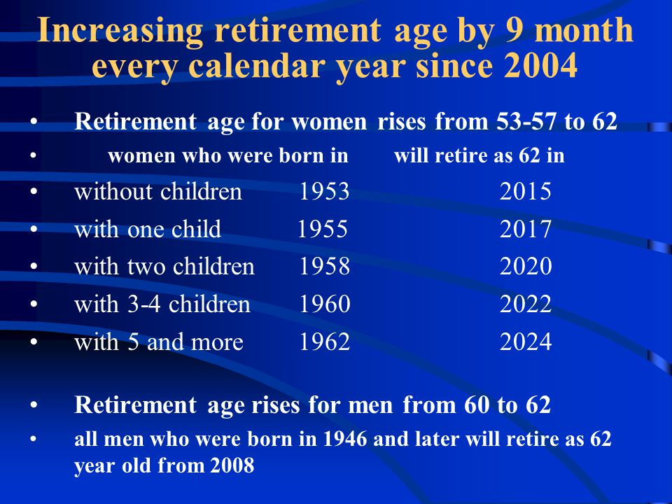 Retirement age for women rises from 53-57 to 62 women who were born in will retire as 62 in without children19532015 with one child 19552017 with two children19582020 with 3-4 children19602022 with 5 and more19622024 Retirement age rises for men from 60 to 62 all men who were born in 1946 and later will retire as 62 year old from 2008 Increasing retirement age by 9 month every calendar year since 2004