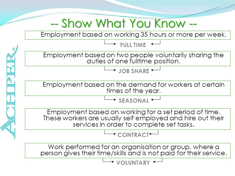-- Show What You Know -- Employment based on working for a set period of time.