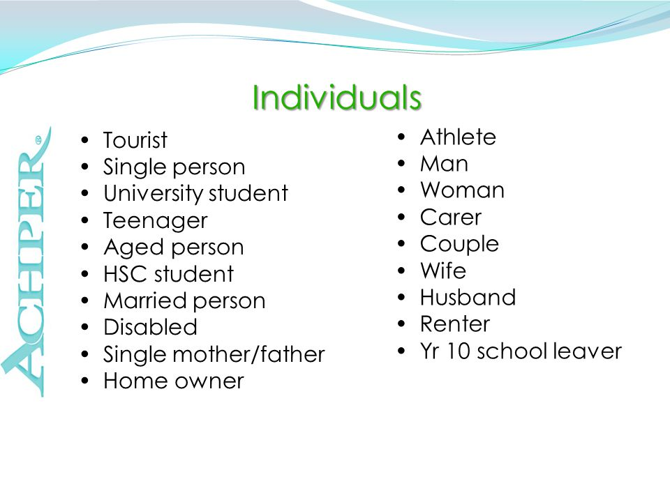 Individuals Athlete Man Woman Carer Couple Wife Husband Renter Yr 10 school leaver Tourist Single person University student Teenager Aged person HSC student Married person Disabled Single mother/father Home owner