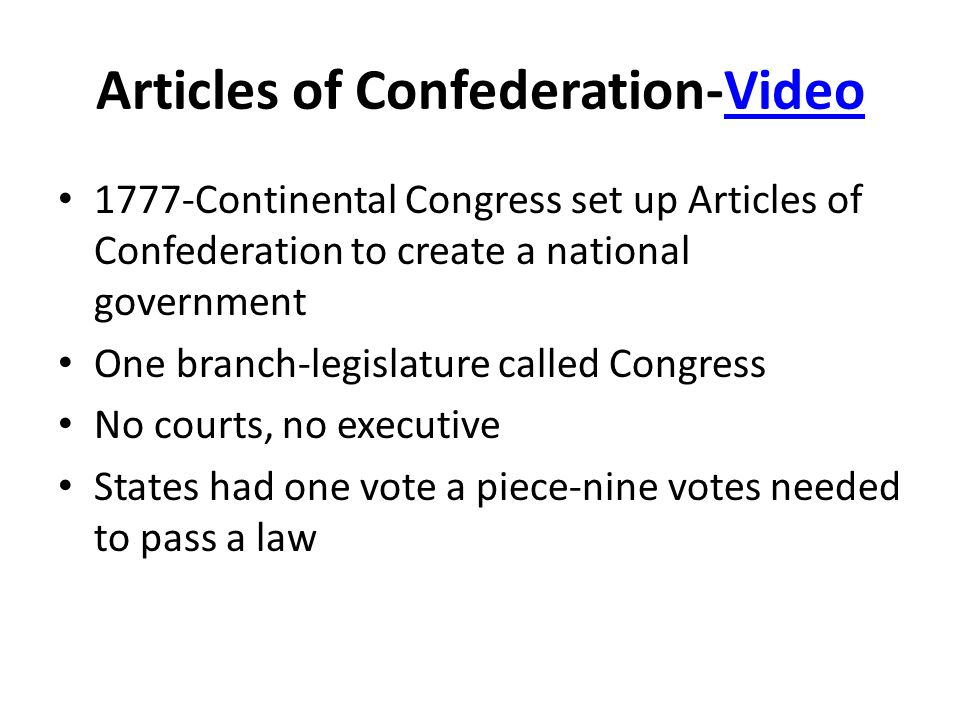 Articles of Confederation Articles wanted to limit the power of the central gov't Power remained in the hands of the states-Congress could not regulate trade or collect taxes.