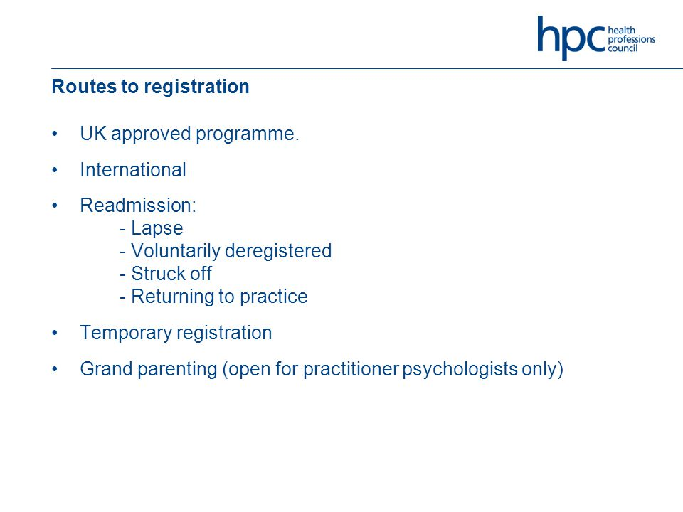 Routes to registration UK approved programme.