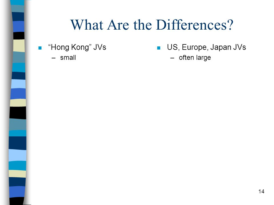14 What Are the Differences n Hong Kong JVs –small n US, Europe, Japan JVs –often large