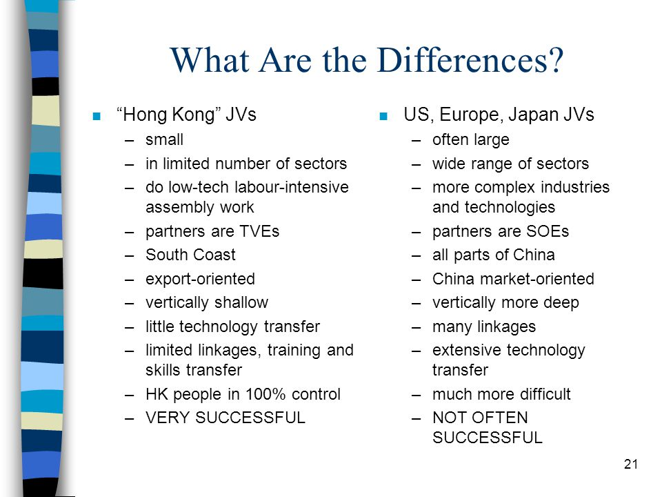 """21 What Are the Differences? n """"Hong Kong"""" JVs –small –in limited number of sectors –do low-tech labour-intensive assembly work –partners are TVEs –So"""