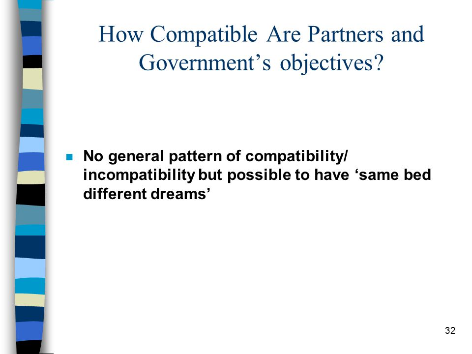 32 How Compatible Are Partners and Government's objectives.