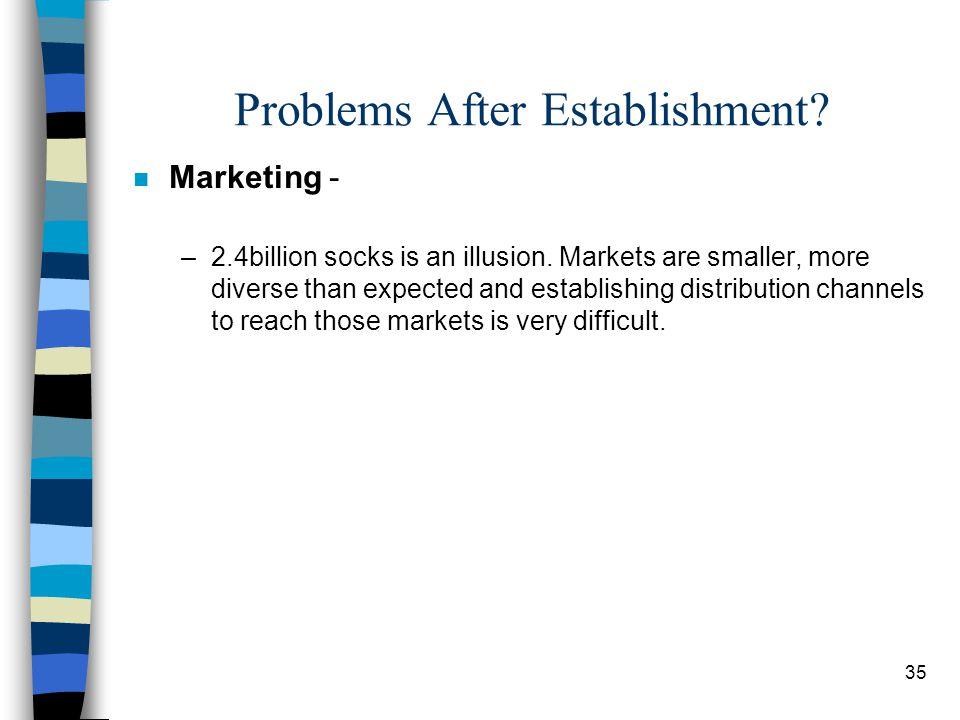 35 Problems After Establishment. n Marketing - –2.4billion socks is an illusion.