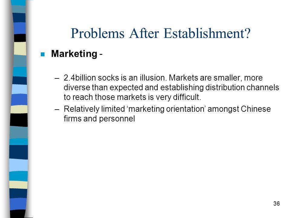 36 Problems After Establishment. n Marketing - –2.4billion socks is an illusion.