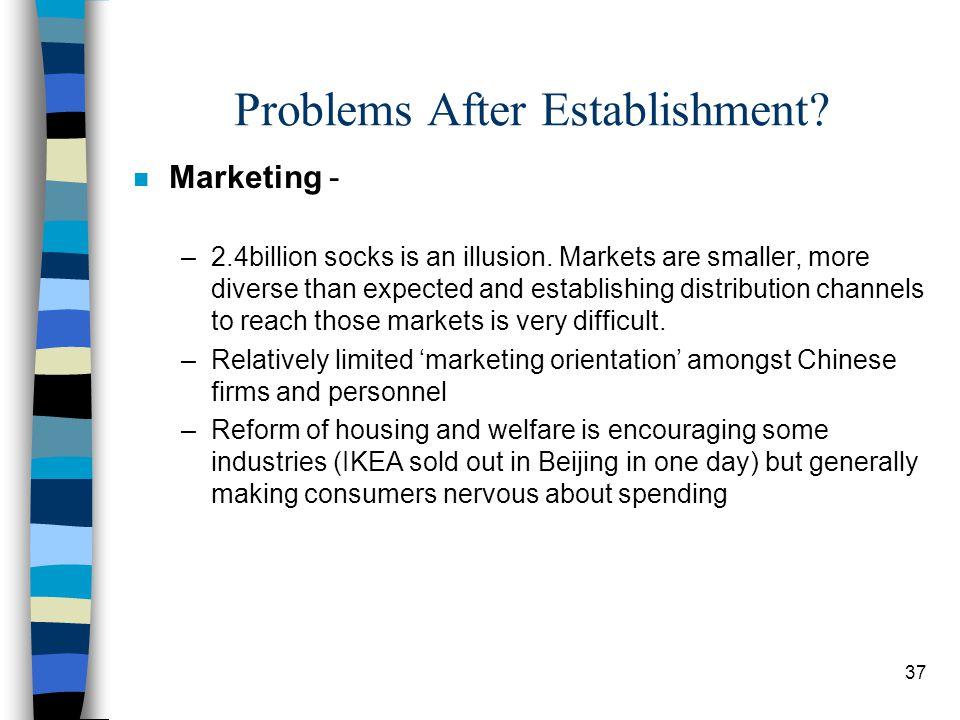 37 Problems After Establishment. n Marketing - –2.4billion socks is an illusion.
