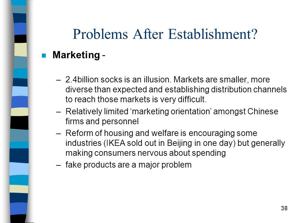 38 Problems After Establishment. n Marketing - –2.4billion socks is an illusion.