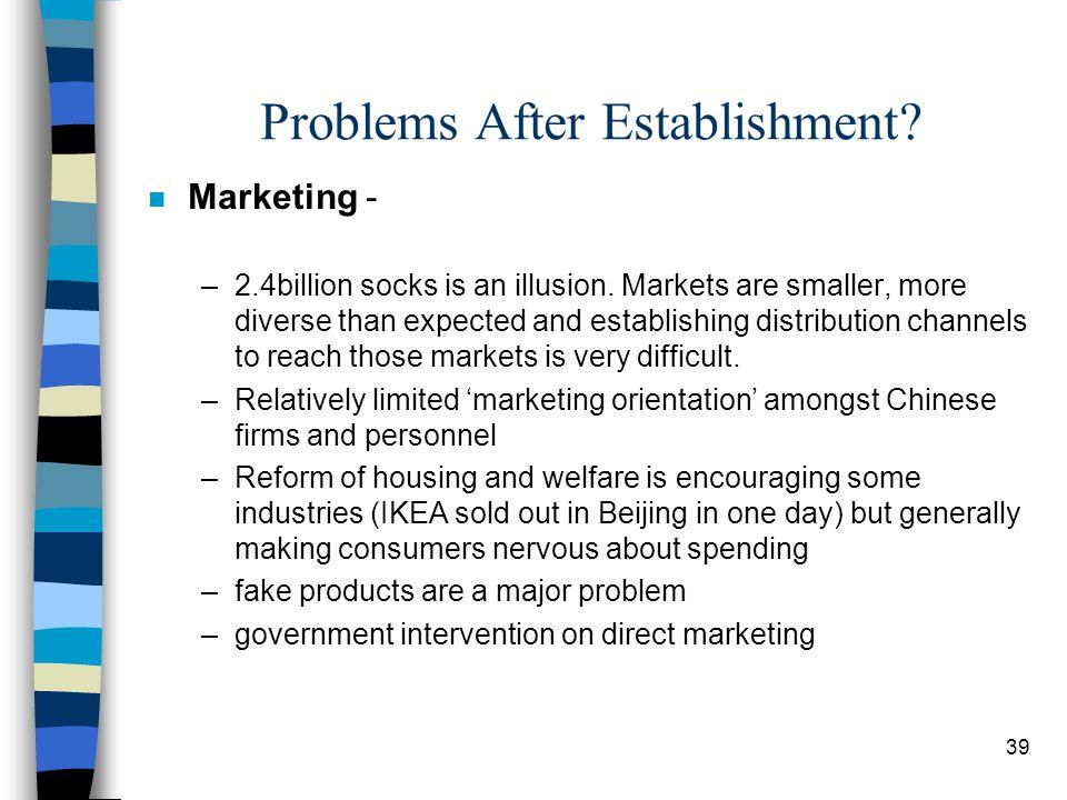 39 Problems After Establishment. n Marketing - –2.4billion socks is an illusion.