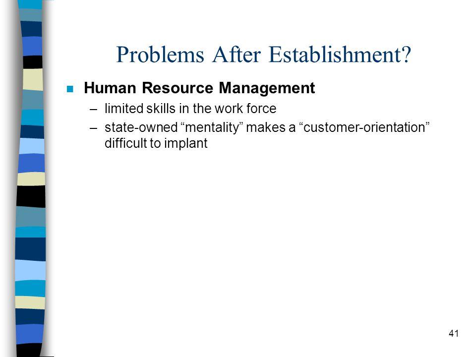 41 Problems After Establishment.