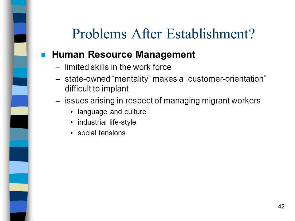 42 Problems After Establishment.