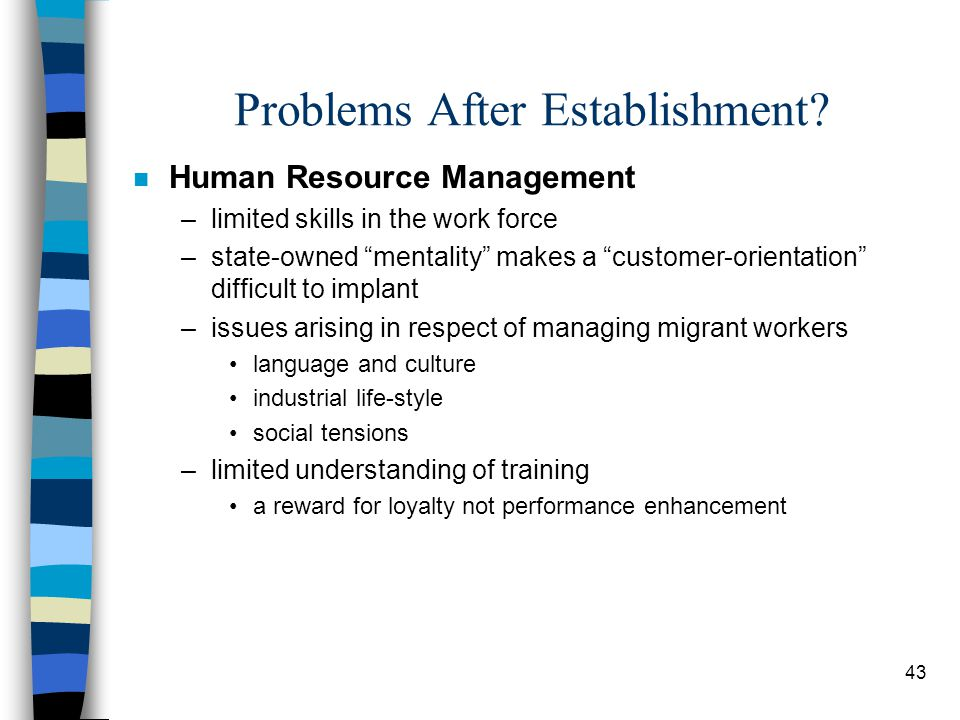 """43 Problems After Establishment? n Human Resource Management –limited skills in the work force –state-owned """"mentality"""" makes a """"customer-orientation"""""""