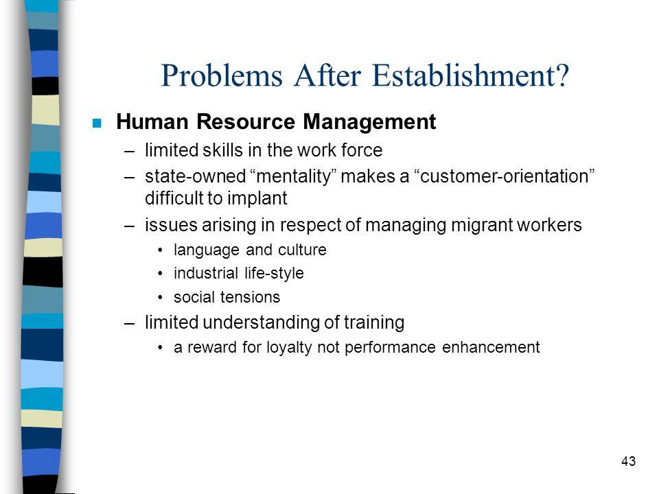 43 Problems After Establishment.