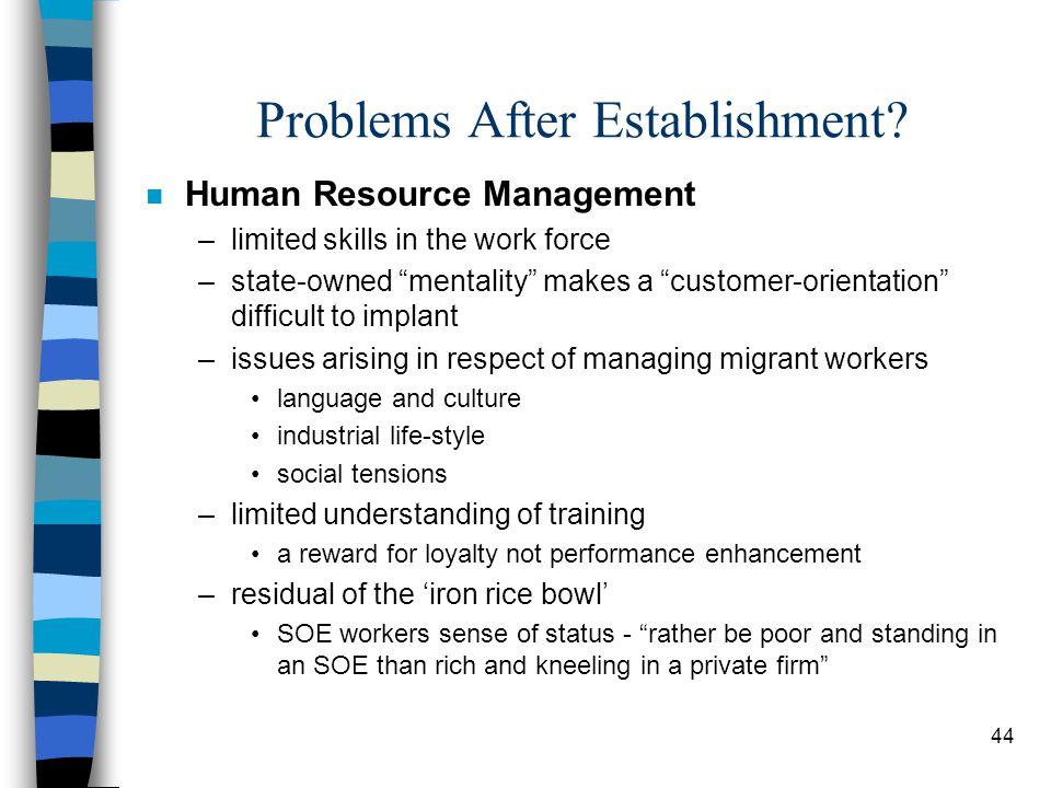 44 Problems After Establishment.
