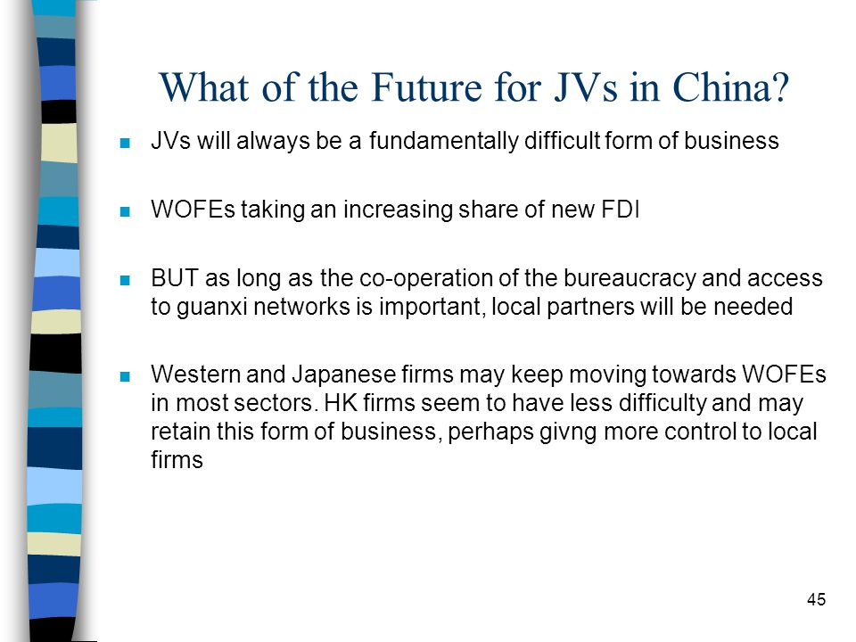45 What of the Future for JVs in China.