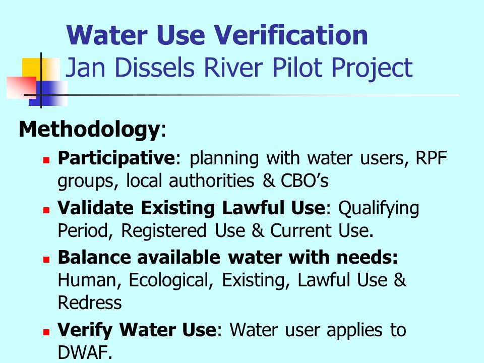 Water Use Verification Jan Dissels River Pilot Project Defining the need: Water to meet the Reserve: Human and Ecological Reserve.