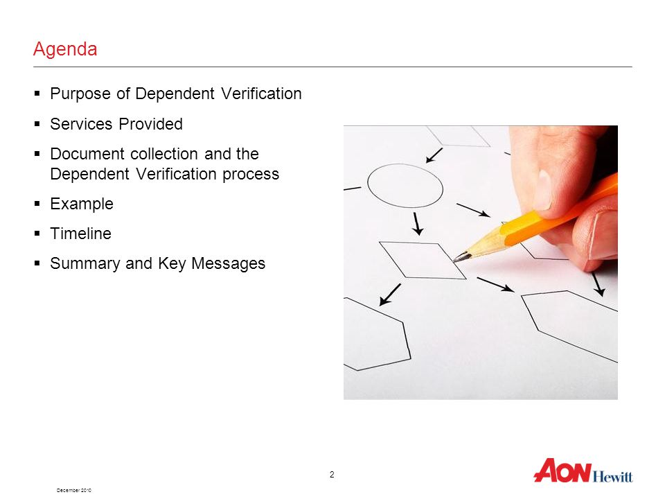 December 2010 2 Agenda  Purpose of Dependent Verification  Services Provided  Document collection and the Dependent Verification process  Example  Timeline  Summary and Key Messages