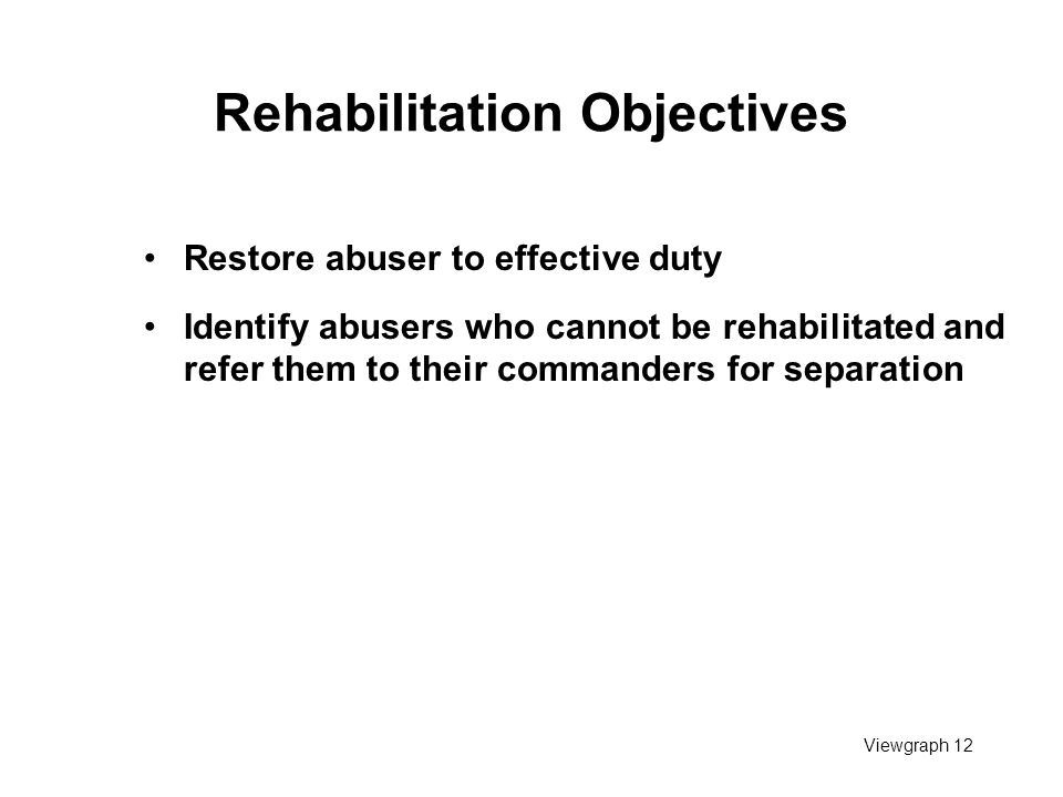 Viewgraph 12 Rehabilitation Objectives Restore abuser to effective duty Identify abusers who cannot be rehabilitated and refer them to their commander