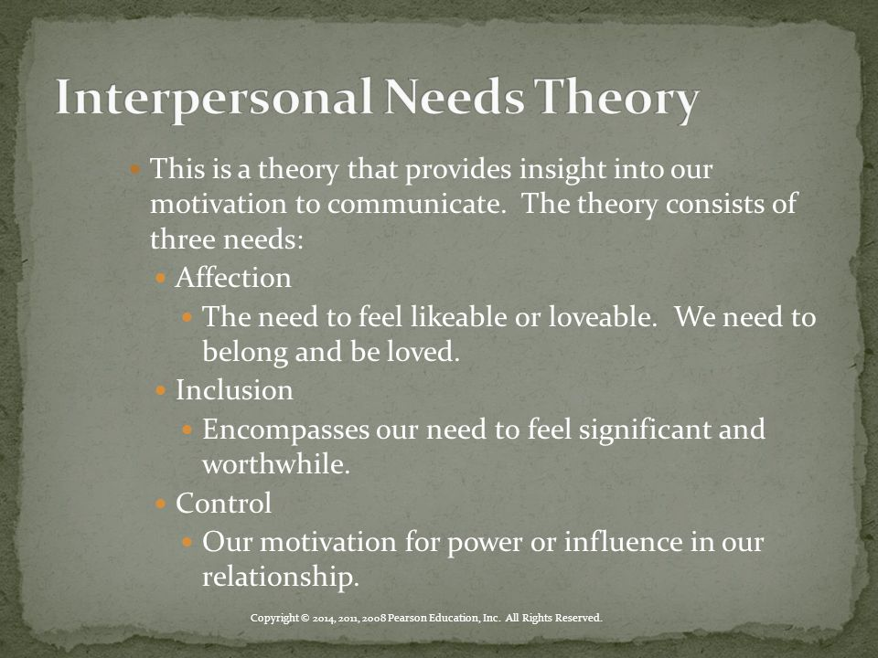 Copyright © 2014, 2011, 2008 Pearson Education, Inc. All Rights Reserved. This is a theory that provides insight into our motivation to communicate. T