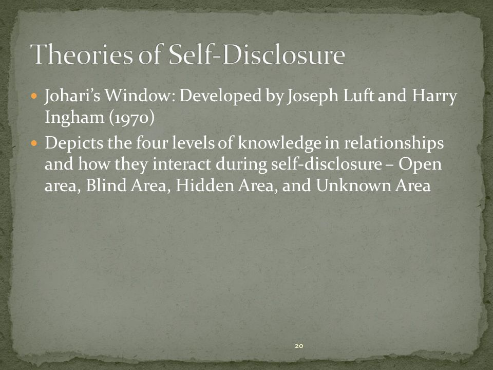 Johari's Window: Developed by Joseph Luft and Harry Ingham (1970) Depicts the four levels of knowledge in relationships and how they interact during self-disclosure – Open area, Blind Area, Hidden Area, and Unknown Area 20