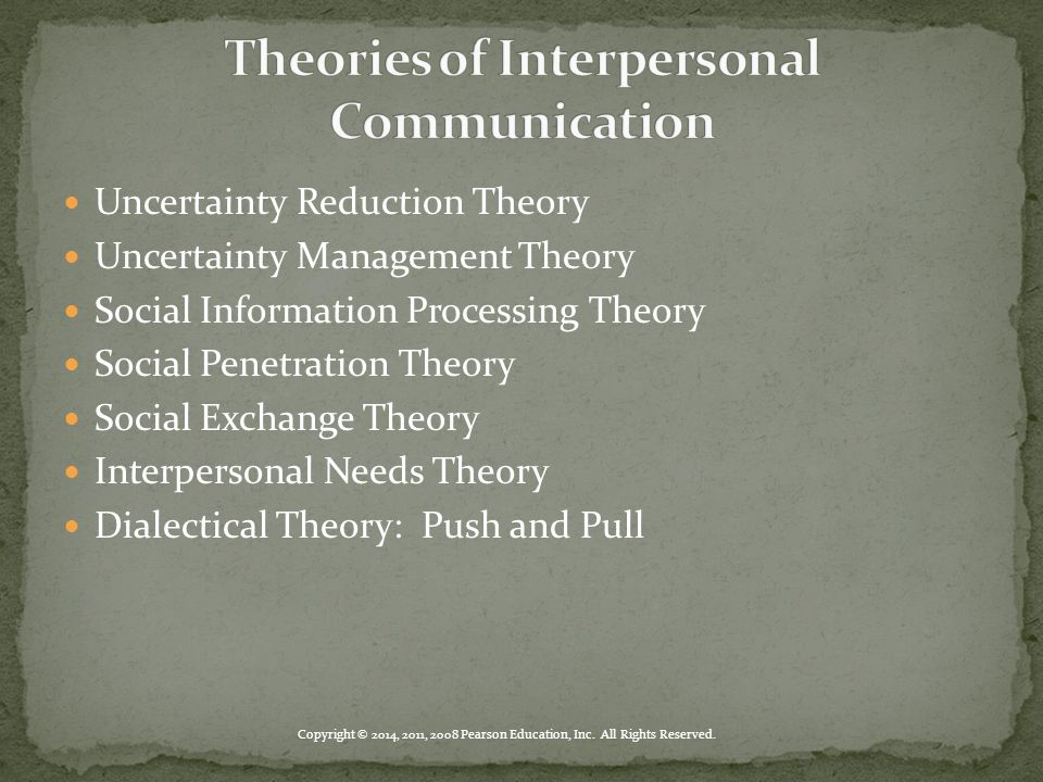 Uncertainty Reduction Theory Uncertainty Management Theory Social Information Processing Theory Social Penetration Theory Social Exchange Theory Inter