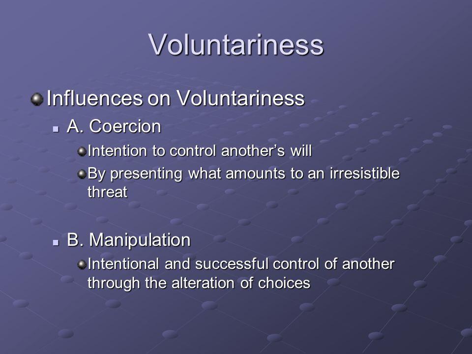 Voluntariness Influences on Voluntariness A.Coercion A.