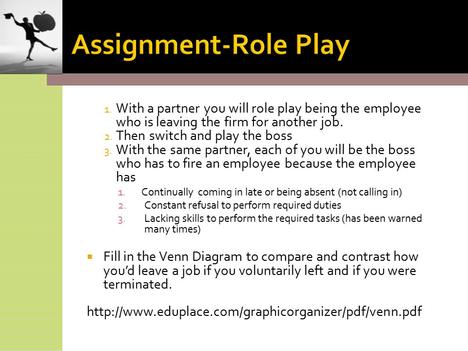 1. With a partner you will role play being the employee who is leaving the firm for another job.