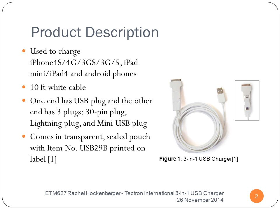 Figure 1: 3-in-1 USB Charger[1] Product Description Used to charge iPhone4S/4G/3GS/3G/5, iPad mini/iPad4 and android phones 10 ft white cable One end has USB plug and the other end has 3 plugs: 30-pin plug, Lightning plug, and Mini USB plug Comes in transparent, sealed pouch with Item No.