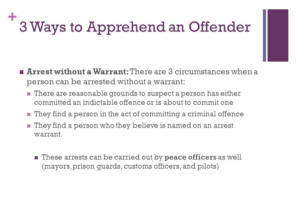 + 3 Ways to Apprehend an Offender Arrest without a Warrant: There are 3 circumstances when a person can be arrested without a warrant: There are reasonable grounds to suspect a person has either committed an indictable offence or is about to commit one They find a person in the act of committing a criminal offence They find a person who they believe is named on an arrest warrant.