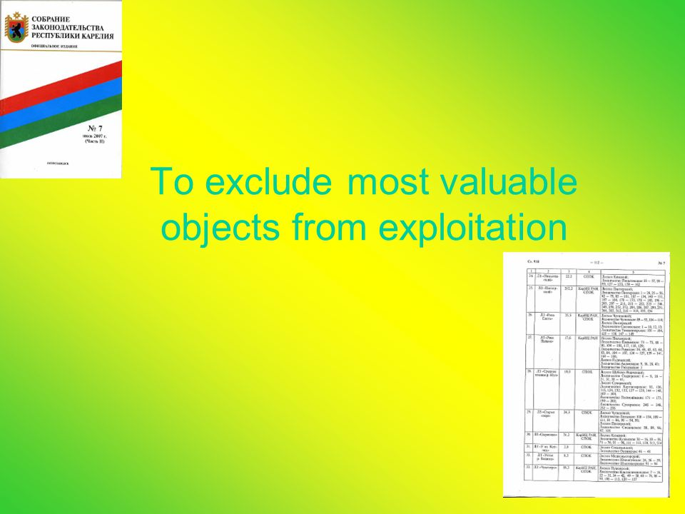 To exclude most valuable objects from exploitation