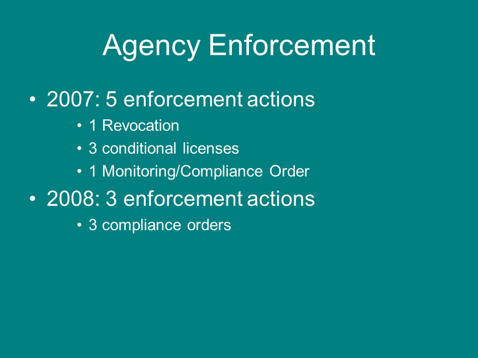 Agency Enforcement 2007: 5 enforcement actions 1 Revocation 3 conditional licenses 1 Monitoring/Compliance Order 2008: 3 enforcement actions 3 compliance orders