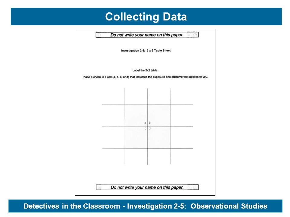 Collecting Data Detectives in the Classroom - Investigation 2-5: Observational Studies