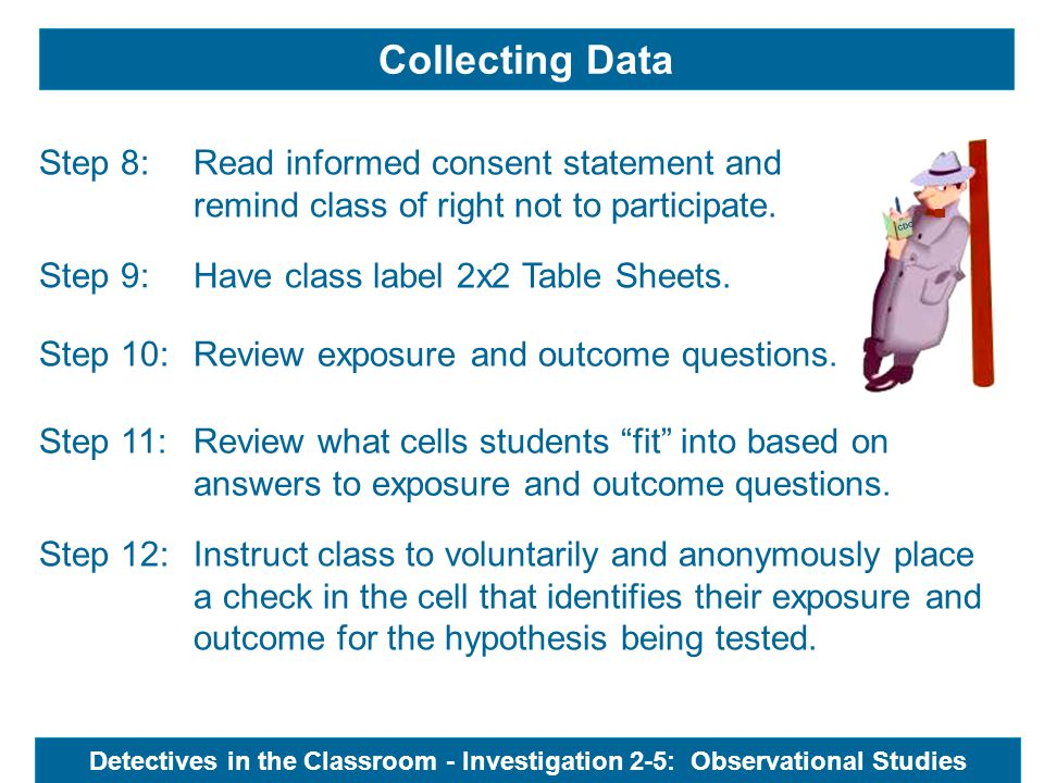 Collecting Data Read informed consent statement and remind class of right not to participate.