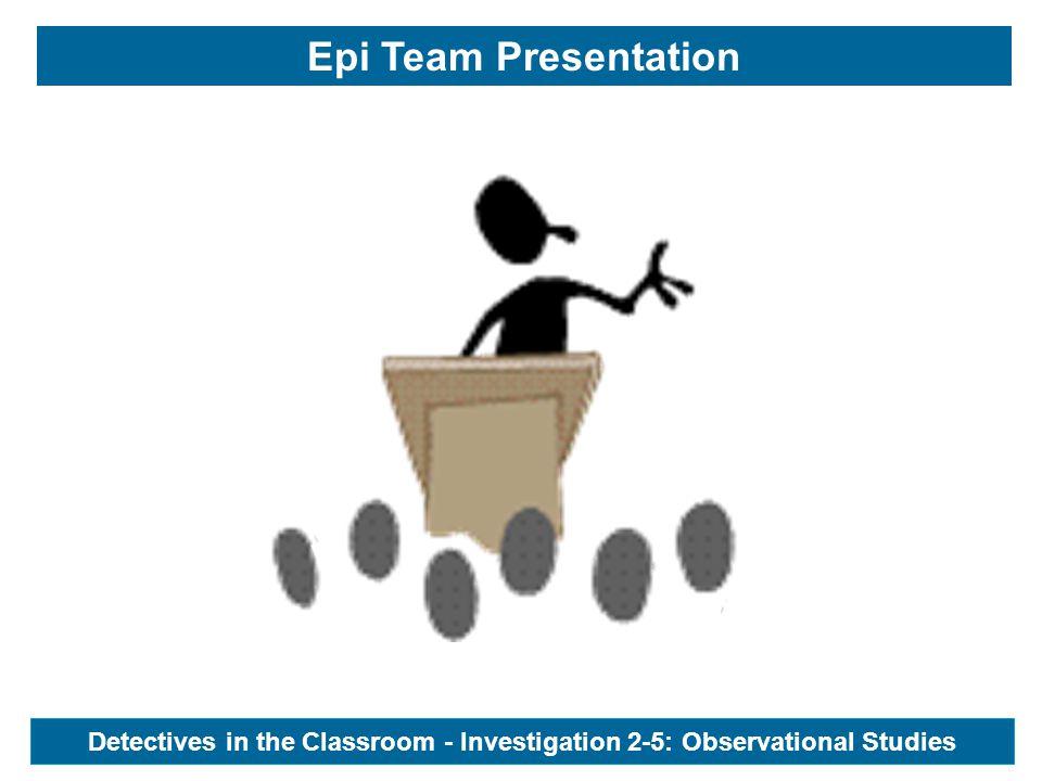 Epi Team Presentation Detectives in the Classroom - Investigation 2-5: Observational Studies
