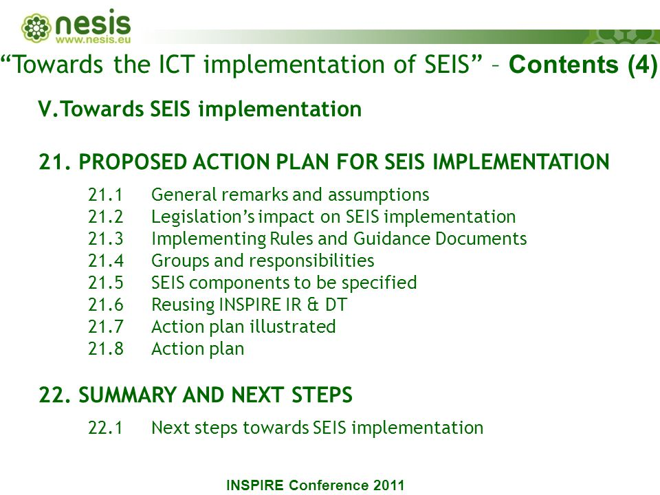 V.Towards SEIS implementation 21.