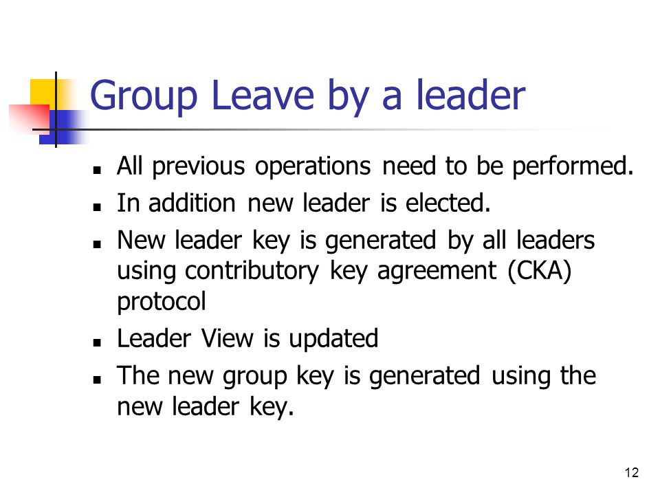 12 Group Leave by a leader All previous operations need to be performed.