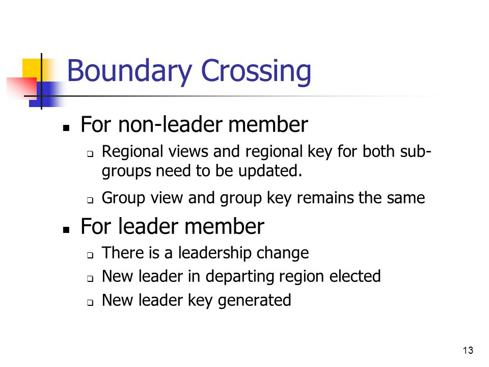 13 Boundary Crossing For non-leader member  Regional views and regional key for both sub- groups need to be updated.